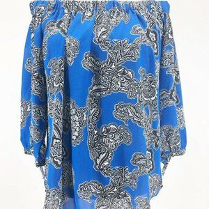 Harve Benard Womens Blouse Blue Black Floral S